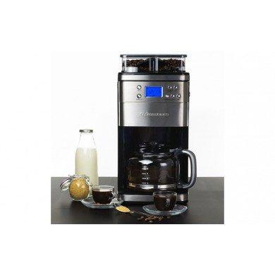 Kaffemaskine med kværn og mælkeskummer