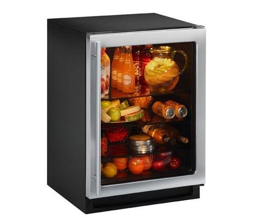 lille køleskab med glaslåge