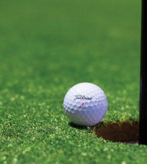 Golf bold på vej i hul